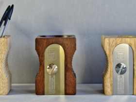 Suck UK 原木创意转笔刀笔筒/置物桶 创意木制笔筒 Sharpener Disk Tidy