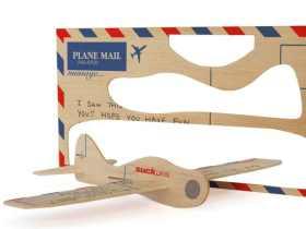 Suck UK 木制飞机明信片/木质贺卡 Postcard Aeroplane