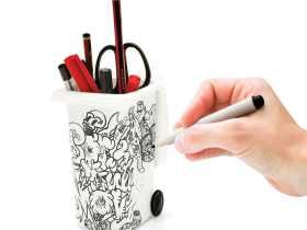 Luckies 白色DIY可涂鸦垃圾桶收纳笔筒/Dry Wipe Wheelie Bin